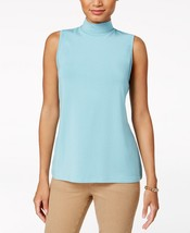 Charter Club Sleeveless Mock-Neck Top in Tile Blue, Large - $15.83
