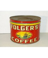 Vintage Folger's Coffee Tin Can Golden Gate Brand 1931 Copyright w/ Lid - $49.49