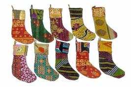 Indian Vintage Kantha Christmas Stockings Hanging Gifts Holder Christmas... - $14.69
