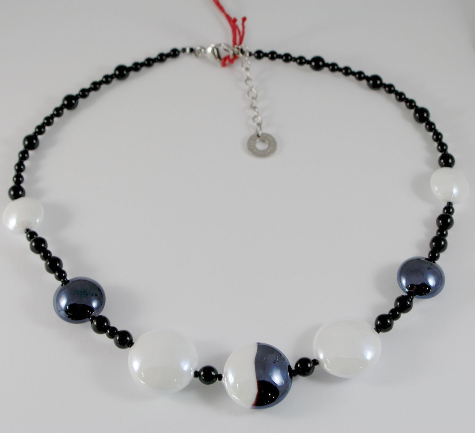 NECKLACE ANTICA MURRINA VENEZIA WITH MURANO GLASS BLACK AND WHITE COA40A15