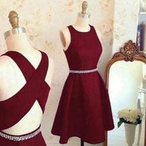 Homecoming Dress Round Neck Burgundy Short Party Dress - $155.00+