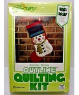 Bee Crafty Snowman Christmas Stocking Outline Quilting Kit Vintage New O... - $19.99