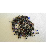 Iridescent Inky Black Navy Blue Metallic Seed Beads Package of 800 Free ... - $3.50