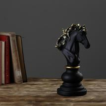 Decorative Chess Sculpture Knight | Black & Gold | Ornaments Tabletop Bo... - $45.00