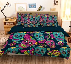 3D Colour Skull 129 Bed Pillowcases Quilt Duvet Single Queen King US Summer - $102.84+
