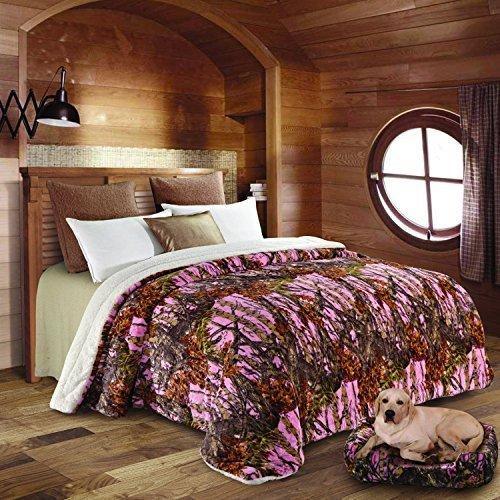 Regal Comfort Pink Camouflage Sherpa Luxury Mink Bed Spread Blanket - The  Woods\'
