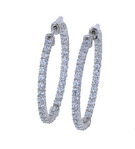 Sterling Silver Rhodium Plated CZ Hoop Earrings L20746 - $1.617,21 MXN