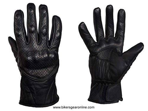 Primary image for MEN'S MOTORCYCLE RACING LEATHER BLACK GLOVES W/KNUCKLES PROTECTION BLACK (XL Reg