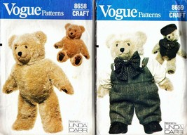 "Vintage 1980's Teddy Bear & Clothes Vogue Patterns 8658 & 8659 - 23"" Bear - $22.00"