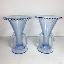 """Pair of Imperial Candlewick Viennese Blue Round Double Handled 7.5"""" Vase... - $89.10"""