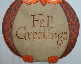 FabriCreations 2236 Fall Greetings Fabric Owl Sculpted Appliqued Embroidered image 3