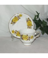 QUEEN ANNE BONE CHINA FOOTED TEACUP CUP & SAUCER 8616 YELLOW ROSES VINTAGE CHARM - $15.67