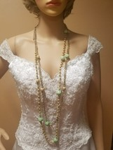 Vintage Esmor necklace long gold tone yellow green 3 strands - $8.90