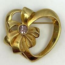Avon Open Heart Bow Purple Rhinestone Brooch Pin February Birthstone Gold Tone - $9.84