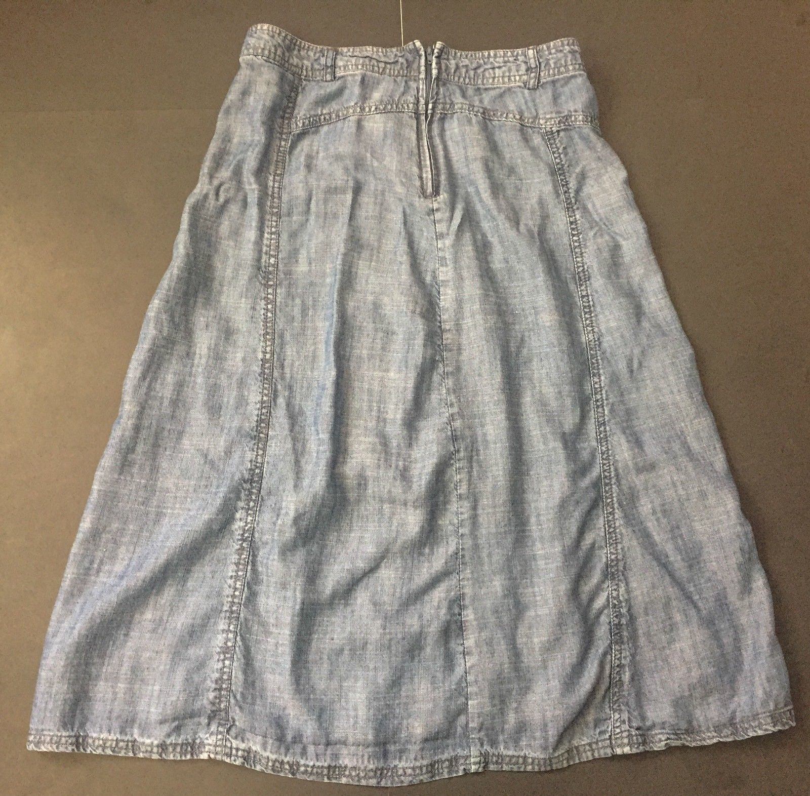 Christopher And Banks Chambray Skirt 6 Linen Blend A-Line Light Blue Modest