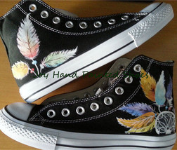 Chuck Taylor Shoes Dreamcatcher Black Hightop Hand Painted Shoes Free Shipping - $75.44