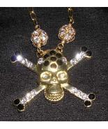 Skull Crystals Goth Punk Wiccan Goldtone Necklace NEW - $20.23