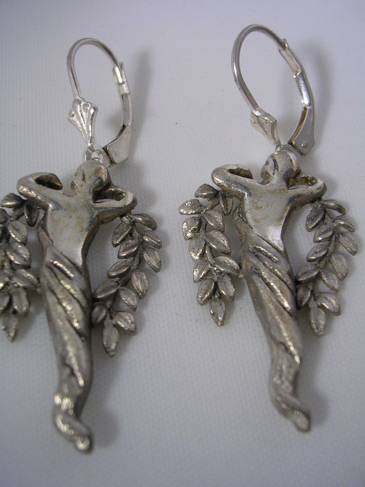 Primary image for LADY HANGING EARRINGS ART NOUVEAU IN STERLING SILVER