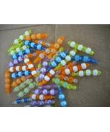 75 pcs- Mix Orange/Yellow/Blue/Purple Plastic bead charms - $14.00