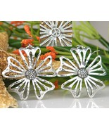 Flower Peace Symbol Pierced Earrings Cut Out Drop Silvertone - $18.95