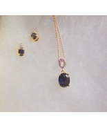 """Blue Sapphire Necklace and Earring Set Oval Cut with """"O"""" Des - $55.00"""