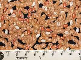 Peanuts Cashews Nuts Snacks Food Black Cotton Fabric Print by the Yard D... - $12.49
