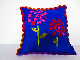 Handknit and Felted Decorative Pillow - $48.00
