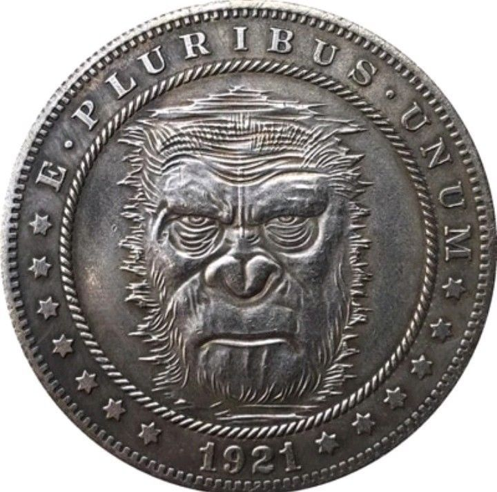 Primary image for Rare New Hobo Nickel 1921 Morgan Dollar Planet Apes Afrcia Gorilla Casted Coin