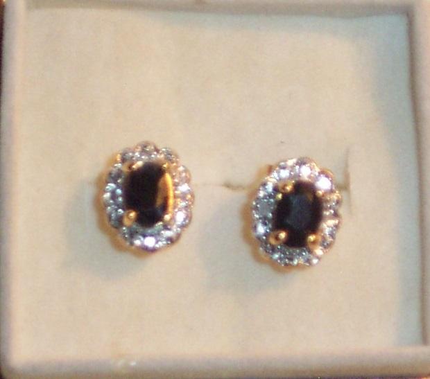 Sapphire earrings oval cut