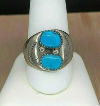 Vintage Navajo Sterling Silver Double Turquoise Ring Sz 10.75 - $894,87 MXN