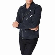 Men Leather Jacket Black Suede Jacket Slim fit Biker Jacket - FL417 - $114.99