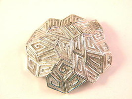 Vintage Coro Silver tone Modern Large Brooch Pin - $15.75