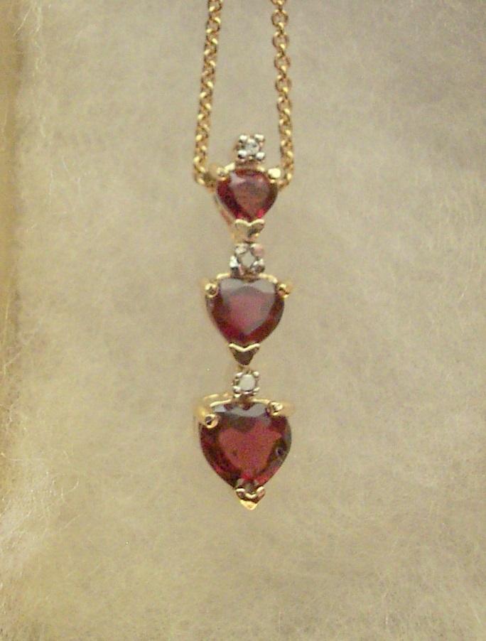 Rhodolite garnet 3 heart necklace