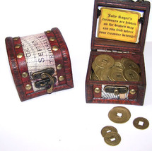 PIRATES TREASURE CHEST FULL OF COINS pirate box play money toy novelty c... - $6.31