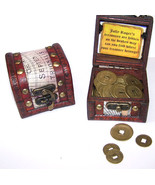 PIRATES TREASURE CHEST FULL OF COINS pirate box play money toy novelty coin box - $6.31