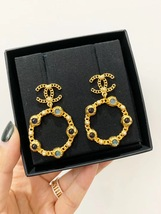 NEW AUTH CHANEL18/19 LARGE Pearl Hoop Earrings Jewel Symbols Crystal CC Gold