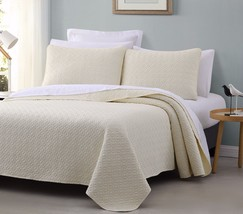 Titan 3pc Quilted Bedspread Set Ivory Color Stitched pattern 100% Cotton Filling - $46.44 - $56.89