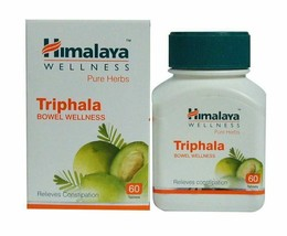 60 TABLETS HIMALAYA HEALTH TRIPHALA WELLNESS CONSTIPATION INDIGESTION FR... - $8.78