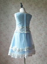Light-blue Lace Tutu High Waist Dress Blue Flower Girl Dress Birthday Dress NWT image 5