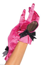 SALE - Ladies Burlesque Hot Pink & Black Sexy satin Gloves One size Fancy Dress - $5.31