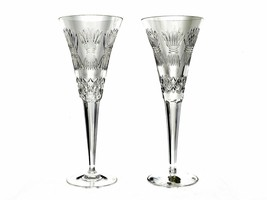 "Waterford Millennium Collection Fourth Toast ""Prosperity"" Crystal Flutes... - $94.99"