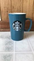 Starbucks Teal Solid Tall 16 oz Coffee Mug Mermaid Logo  - $26.86