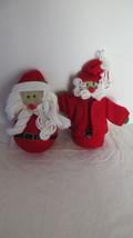 2 Christmas Sock Santa Claus Ornaments - $10.39