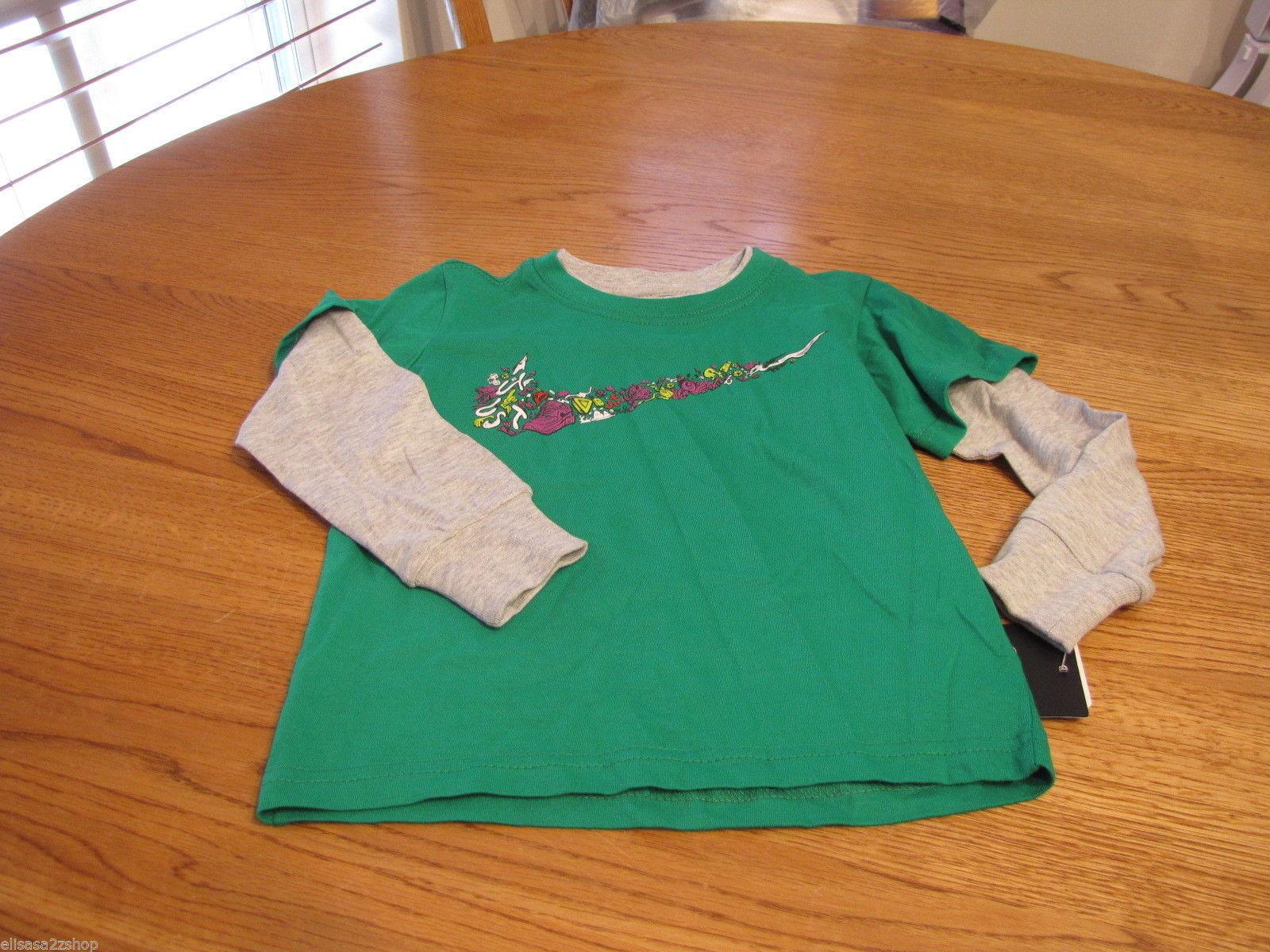 Boy's Youth 2T Nike long sleeve T shirt logo green 769281-312-EF toddler 2 T NEW