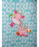 Taggies Giraffe Pony Baby Blanket Aqua Blue White Hearts Pink Spots - $28.48