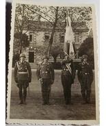 ORIGINAL WW2 GERMAN PHOTO: LUFTWAFFE COLOR GUARD WITH FLAG - $10.00