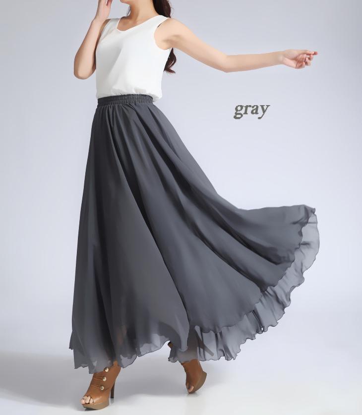 Women Long MAXI Chiffon Skirt AQUA-BLUE Chiffon Maxi Skirt Summer Wedding Skirt