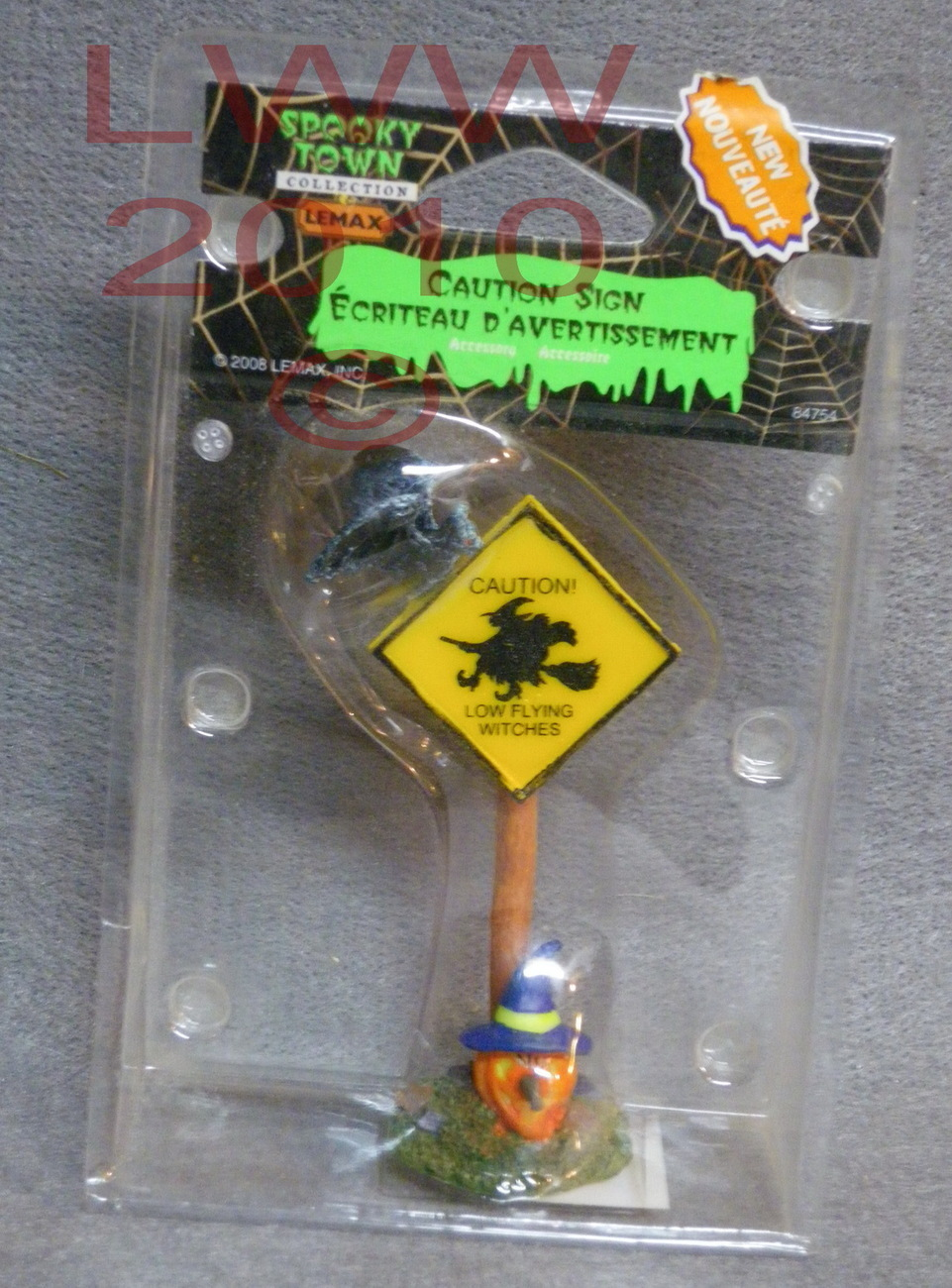 Halloween Lemax Spooky Town Caution Low Flying Witch Sign
