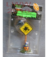 Halloween Lemax Spooky Town Caution Low Flying Witch Sign - $2.99