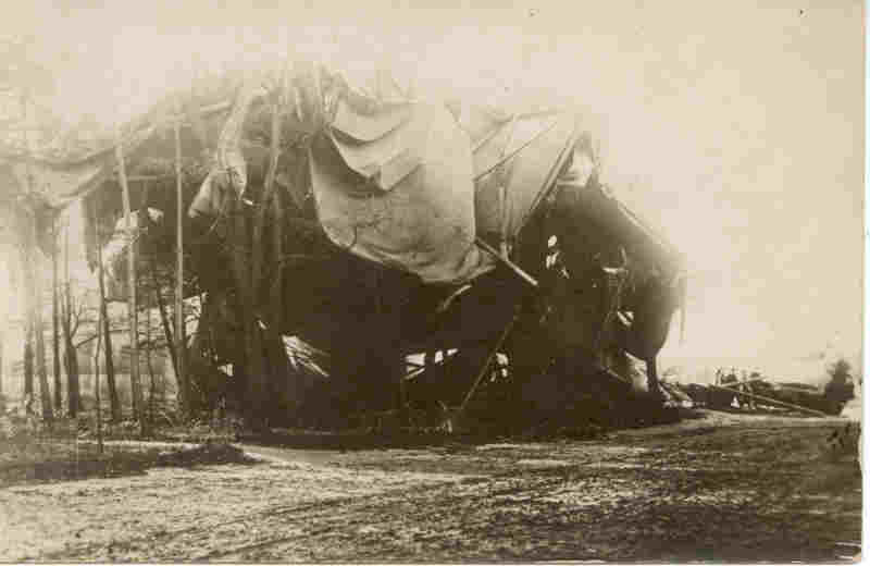 Crashed German Balloon World War 1 Real Photo Post Card image 1